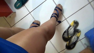 Shiny Pantyhose Legs Crossdresser Masturbating