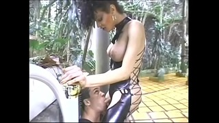 Transvestite Whore in Kinky Latex Outfit Gets Pounded Outdoors By a Stud