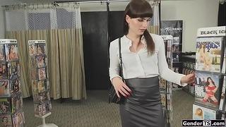 Transvestite Natalie Mars Sucks Through Gloryhole